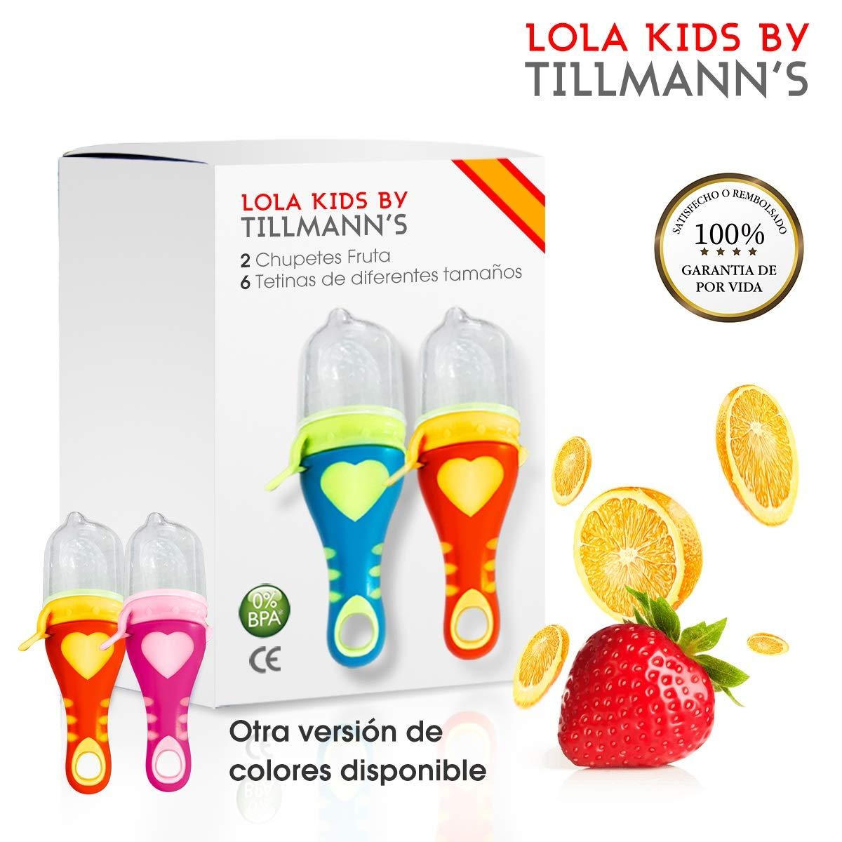 O³ Chupete Fruta – 2 Unidades con 6 Tetinas De Diferentes Tamaños – Alimentador Antiahogo Bebe Para Las Frutas y Verduras – Ayuda La Dentición De Bebé – 100% Silicona Sin BPA