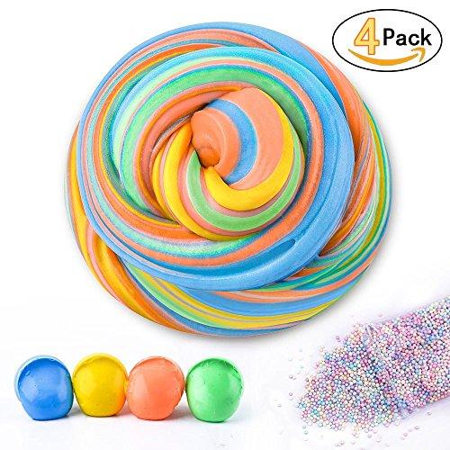 Fluffy Slime Supplies - 7 Unze Jumbo Fluffy Floam Schleim Stress Relief Spielzeug duftenden Schlamm Spielzeug für Kinder und Erwachsene, super weich und nicht-klebrig, ASTM zertifiziert, 4 Farben (Unze-schaum 4)