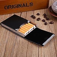 Tiptiper Cigarette Box, PU Leather Cigarettes Case Classical Metal Cigarette Tobacco Box Smoking Gift(black)