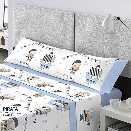 CATOTEX - Juego sábanas infantil PIRATA Catotex. Cama de 90 cm. Color...