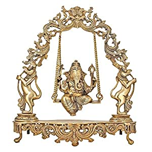 Brass Statue Ganesha on Jhula Swing Hindu Idol for Home Mandir 18 Inches Religious Gifts