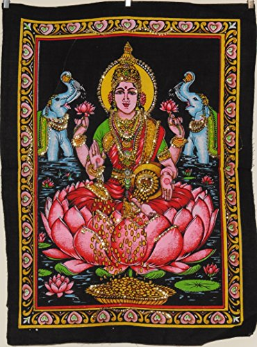 sequin-cotton-picture-hindu-goddess-lakshmi-wall-hanging-43x55cm
