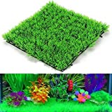 Best Fish Tank Decorations - Foodie Puppies Artificial Plastic Green Grass Square Mat Review