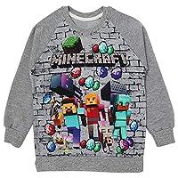 Minecraft Baskılı Erkek Çocuk Mevsimlik Sweatshirt Gri