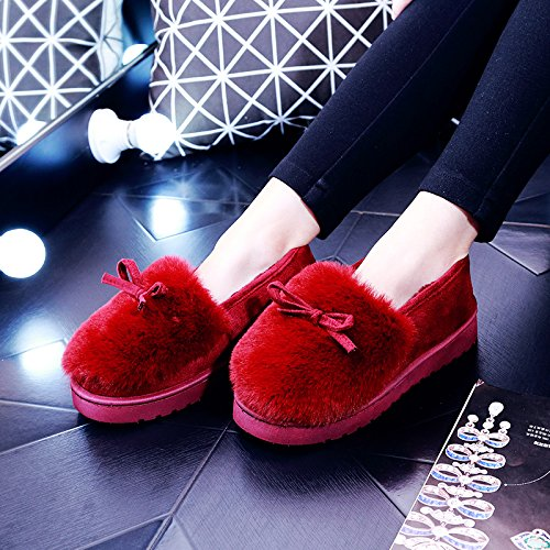 DogHaccd pantofole,Pantofole di peluche femmina indoor invernale anti-slittamento inverno spesse pantofole di cotone confezione con presidente soggiorno scarpe Il rosso1