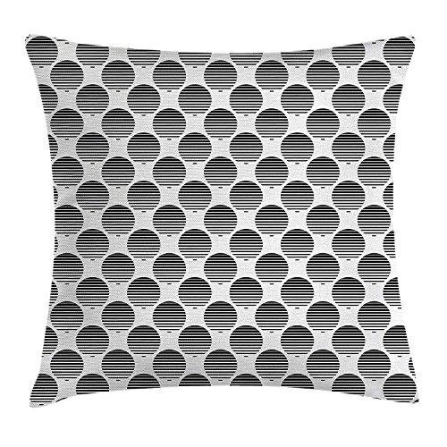 Geometric Circle Decor Throw Pillow Cushion Cover, Continuous Rippling Twist Inner Circular Horizontal Arc Model Print, Decorative Square Accent Pillow Case, 18 X 18 Inches, Black White Clara Arc