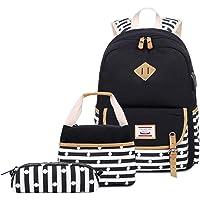 Neuleben 3 Set Schulrucksack & Kühltasche & Federmäppchen für Jungen Mädchen mit Laptopfach (Schwarz E)