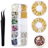 Deciniee Nail Art Rhinestones, 39 kinds of Nail Decoration Accessories Kit with Pick Up Tweezer,Mix Nail Metal Rivets…