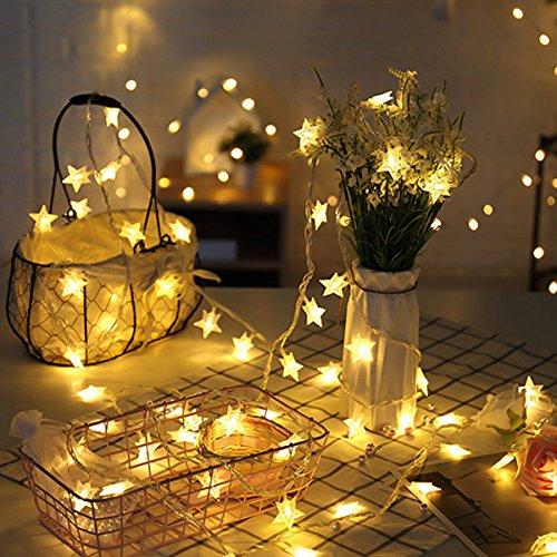 【Angebot des Tages】LED Lichterkette Sterne 4M/13.2ft 40 LEDs batteriebetrieben String Licht Sternenlicht für Weihnachten /Deko /Party/Hochzeit, Weihnachtsbeleuchtung Creti (warmweiß)