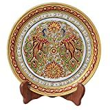 #6: HANDICRAFTS PARADISE PEACOCK WITH BEAUTIFUL FEATHERS ON MARBLE PLATE HPMR15163
