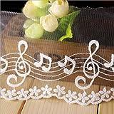 1 yarda bordada de la boda de la cinta de algodón de música patrón bordado de encaje artesanía bordes