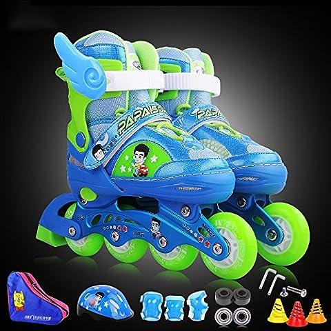Crayom Sicherheit Keine Angst Kinder Einstellbare Waschbare Inline Gerade Skate Set mit Schutzausrüstung Kinder gerollte Schlittschuhe Klingen in verschiedenen Größen und Farben geben Spree ( Color : Blue , Size : M )