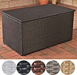 CLP Polyrattan Auflagen-Box, Rattan-Box für Kissen & Auflagen, bis zu 5 Farben + 3 Größe wählbar M = 235 Liter, schwarz