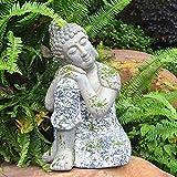Gran Buda Sentado Cabeza En La Rodilla Dormir Piedra Ornamento del Jardín Zen Meditando