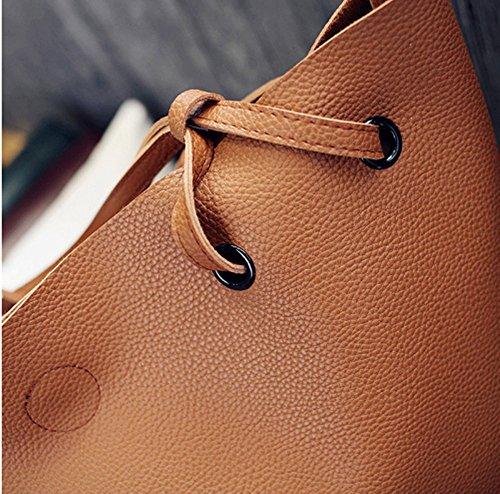 Swallow Borsa a tracolla delle donne, borse del sacchetto della madre dell'unità di elaborazione di svago di colore solido Marrone