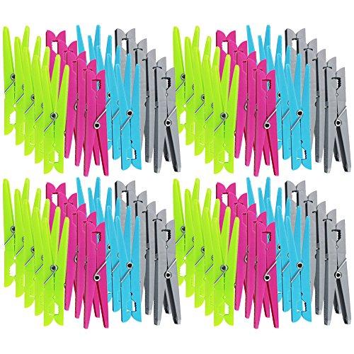 Com-Four Lot de 80 pièces pinces à linge pinces en 4 couleurs verschiednen tendance, extra large pour un maintien sûr, XXL