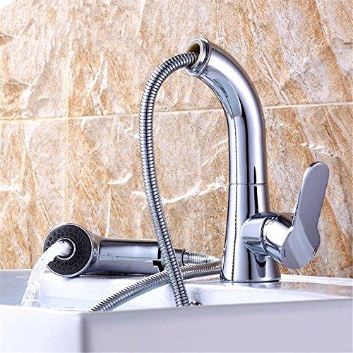 EinfacheKupfer heiß und kalt Wasserhähne Küchenarmatur WasserhahnKupfer warm und kalt drehende Waschbecken Pull-Typ Küche Becken Wasserhahn Duschkopf Wasser hoch Geeignet für Badezimmer Küchenspülen