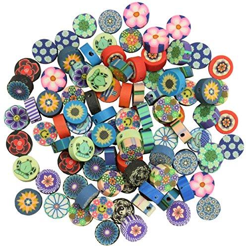 trendmarkt24 Polymerperlen rund flach 100 STK. Schmuckperlen-Mix in 5 Farben Sortiert Kinderperlen runde Bastelperlen ideal zum Schmuck basteln Bunte Polymer-Perlen Lochgröße ca. 1mm 3014252 - Polymer-perlen