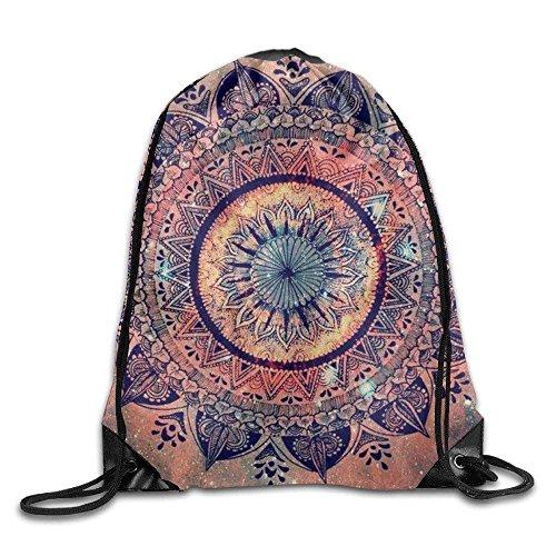 Etryrt Turnbeutel/Bedruckte Sportbeutel, Premium Drawstring Gym Bag, Amazing Floral Mandala Unisex Outdoor Rucksack Shoulder Bag Travel Drawstring Backpack Bag - Floral Drawstring Shoulder Bag