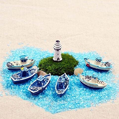 Bluelover Pesca barco Micro paisaje Eco botella BRICOLAJE adornos de resina