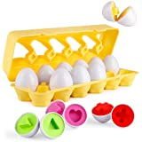 Cretee 12 Eggs of Matching Egg Set Toddler Eggs Toy for Kids Educational Color and Shapes Recognition Game