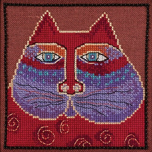 laurel-burch-red-cat-on-aida-counted-cross-stitch-kit-5x5-14-count-by-mill-hill