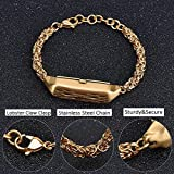 V-MORO Flex 2 Strap,Medium to Small Size Stainless Steel Metal Flex 2 Chain Bracelet Metal Chain Wrist Band (Bracelet Gold (S))