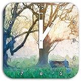 Baum und Bank im Nebel Pinsel Effekt, Wanduhr Quadratisch Durchmesser 28cm mit weißen eckigen Zeigern und Ziffernblatt, Dekoartikel, Designuhr, Aluverbund sehr schön für Wohnzimmer, Kinderzimmer, Arbeitszimmer