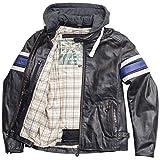 Racer VINTAGE HOODY Herren Motorradjacke Leder - schwarz blau Größe 46