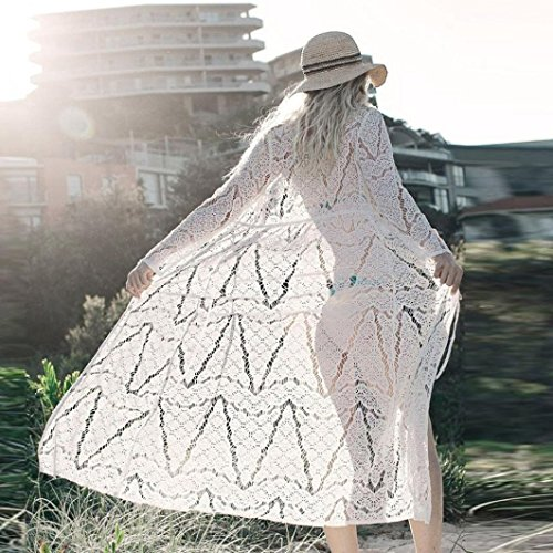 Momola Femmes Bohème Bikini Plage Maxi Cover Up Kimono Dentelle Blanc