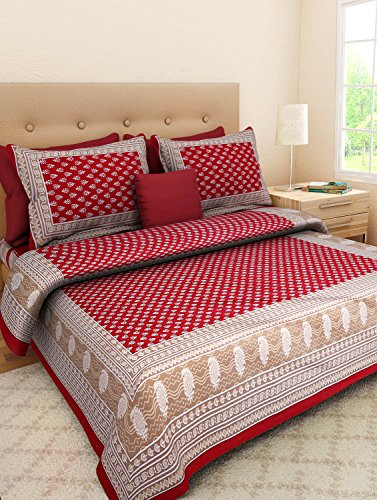 UniqChoice Rajasthani Tradition 180 TC Cotton Double Bedsheet with 2 Pillow Covers - Red
