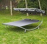 Bain-de-soleil-chaise-longue-lit-fauteuil-de-jardin-hamac-oxford-et-polyester-en-suspension--2-places-cadre-en-acier-gris-neuf-5GY