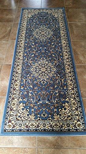 Traditionelle Burgund Persischen lang Läufer Bereich Teppich 330000Point Design-603(78,7cm X9Füße 25,4cm), Polyester-Mischgewebe, blau, 31 Inches X 7 Feet 2 Inches -