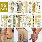 VEGKEY Temporäre Tattoos,15 Stück Wasserdicht Metallic Temporäre Tattoo Goldene Tattoos MetallicTattoos Sticker, Glitzer Tattoo Sticker für Kinder Mädchen Temporäre Tätowierung für Body Art