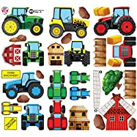 GET STICKING DÉCOR® TRACTORS & DIGGERS WALL STICKERS COLLECTION, MultiFamilyTrac Trac.2, Glossy Vinyl, Multi Color. (Large)