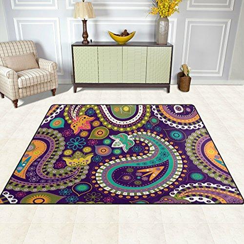 DOSHINE Bereich Teppiche Matte Teppich 4'X5', Indischen Floral Paisley Tribal Polyester Rutschfest Wohnzimmer Esszimmer Schlafzimmer Teppich Eingang Fußmatte Home Decor, Multi, 5'x7' (Teppich Paisley Floral)