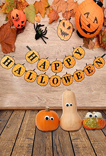 Aaloolaa Fotografie Backdrop 1x1,5m Foto Hintergrund Halloween Grimace Pumpkin Leaves Spider Wood Floor Baby Newborn Kid Child Boy Girl Portrait Artistic Scene Props Video Shooting Studio (Spider Prop)