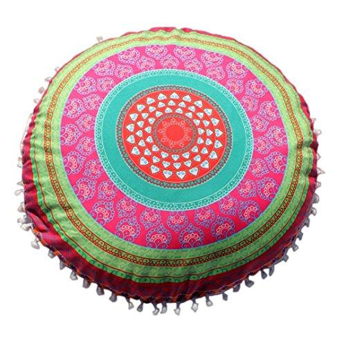 Dekorative Kissen Runde (cinnamou Indische Mandala Kissenbezug - Bodenkissen - Runde böhmische Kissen Abdeckung - Sofa Dekor Tierkissen (E))