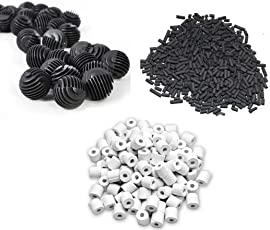 UMINO Fish Tank 500G Activated Carbon + 500G Ceramic Rings + 22 Bio Balls with Filter Bag