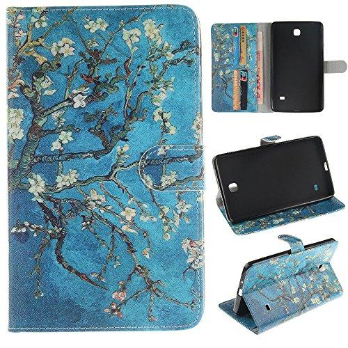Tab 4 7.0,Samsung Tab4 7 Zoll Hülle - PU Leder Flip Cover Case Stand Schutzhülle für Samsung Galaxy Tab 4 SM-T230 / T231 / T235 (7 Zoll) Tablet Tasche Hülle,*Aprikosenbaum ()
