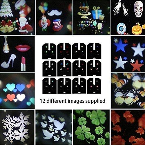 honmei 12 PCS Film Licht Dias Modelle, Projektionskarte mit 12 Verschiedenen Mustern für LED-Projektionslampe und Lichtprojektor