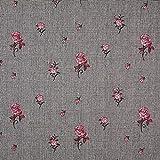 Fabulous Fabrics Glencheck Gestickte Rosen - grau -