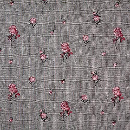 Fabulous Fabrics Glencheck Gestickte Rosen - grau - Meterware ab 0,5m - zum Nähen von Mäntel, Jacken und Blazer - Grau Fischgrat-jacke