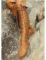 Ei&iLI Zapatos de mujer - Tacón Plano - Botas a la Moda - Botas - Oficina y Trabajo / Vestido / Casual - Cuero - Marrón / Rosa / Morado / Naranja , us6.5-7 / eu37 / uk4.5-5 / cn37