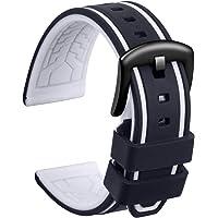 Ullchro Bracelet Montre Remplacer Silicone Bracelet Montre Bicolore - 20, 22, 24, 26mm Caoutchouc Montre Bracelet avec…