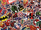 SBS Lot de de Stickers Autocollants Super héros, Marvel, DC Comics, X-Men, Batman, Spiderman, Superman, Avengers