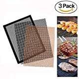 lodogsow BBQ Grill Mesh-Matte Set von 3 Antihaft-Grill-Kochmatte, Teflon Grill-Liner-arbeitet auf Gas, Holzkohle, elektrische Grill 15,75 x 13 Zoll (2 schwarz + 1 Kupfer)