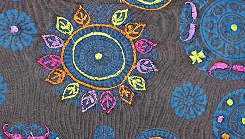 Estate delle donne Abito senza maniche con stampa modello collana e ricamo Blu