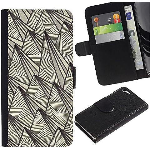 Paccase / Portafoglio del Cuoio di vibrazione del Titolare della carta Custodia per - art deco vintage retro wallpaper beige - Apple Iphone 5 / 5S