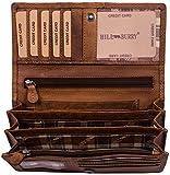 Hill Burry Leder Geldbörse | echtes Vintage Leder - XXL weiches Portemonnaie (Braun)